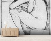 Sorrow, 1882 (litho) (b/w photo) wallpaper mural living room preview