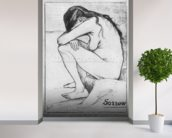 Sorrow, 1882 (litho) (b/w photo) wallpaper mural in-room view