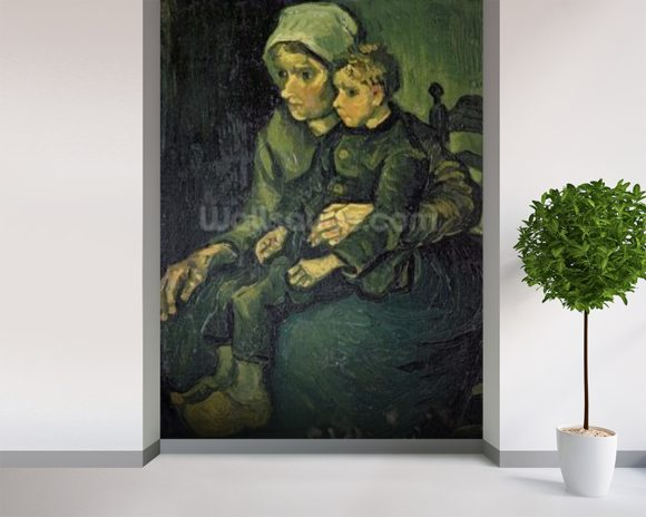 Mother and Child, 1885 (oil on canvas) mural wallpaper room setting
