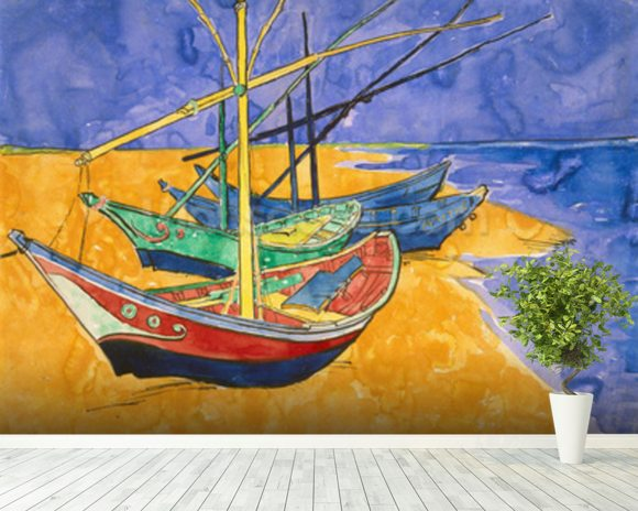 Fishing Boats on the Beach at Saintes-Maries-de-la-Mer (pen & ink with w/c on paper) wallpaper mural room setting