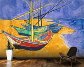 Fishing Boats on the Beach at Saintes-Maries-de-la-Mer (pen & ink with w/c on paper) wallpaper mural kitchen preview