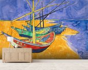 Fishing Boats on the Beach at Saintes-Maries-de-la-Mer (pen & ink with w/c on paper) wallpaper mural living room preview