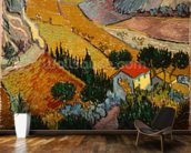 Landscape with House and Ploughman, 1889 (oil on canvas) mural wallpaper kitchen preview