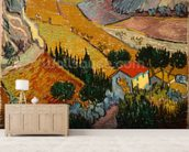 Landscape with House and Ploughman, 1889 (oil on canvas) mural wallpaper living room preview