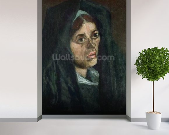 Peasant with moss green shawl, c.1885 (oil on canvas) mural wallpaper room setting