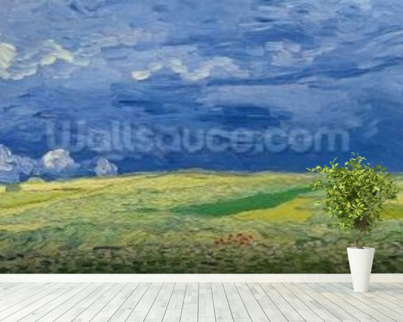 Wheatfields under Thunderclouds, 1890 (oil on canvas) wallpaper mural room setting