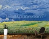 Wheatfields under Thunderclouds, 1890 (oil on canvas) wallpaper mural kitchen preview