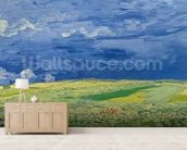 Wheatfields under Thunderclouds, 1890 (oil on canvas) wallpaper mural living room preview