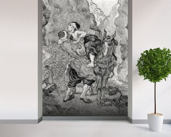 The Good Samaritan, after Delacroix, 1890 (oil on canvas) (b/w photo) wallpaper mural room setting