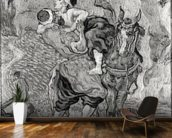 The Good Samaritan, after Delacroix, 1890 (oil on canvas) (b/w photo) wallpaper mural kitchen preview