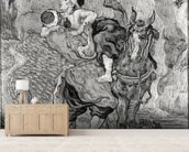 The Good Samaritan, after Delacroix, 1890 (oil on canvas) (b/w photo) wallpaper mural living room preview
