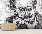 The Man with the Pipe, Portrait of Doctor Paul Gachet (1828-1909) 15th March 1890 (etching) (b/w photo) mural wallpaper living room preview