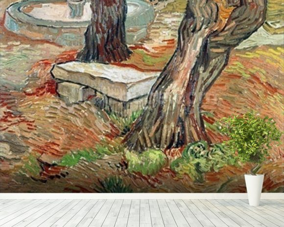 The Bench at Saint-Remy, 1889 (oil on canvas) wall mural room setting