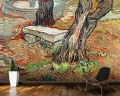 The Bench at Saint-Remy, 1889 (oil on canvas) wall mural kitchen preview