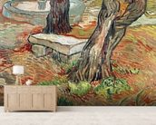 The Bench at Saint-Remy, 1889 (oil on canvas) wall mural living room preview