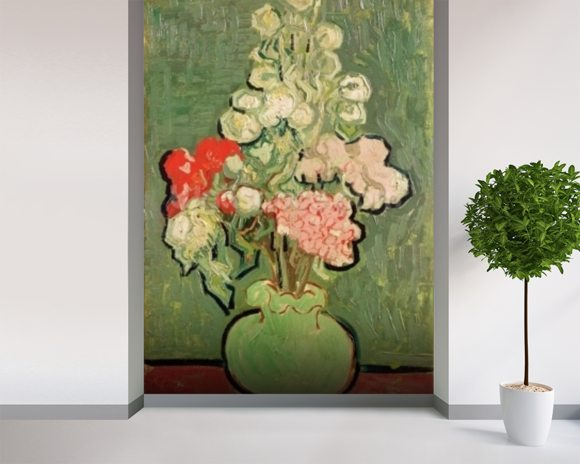 Bouquet of flowers, 1890 (oil on canvas) mural wallpaper room setting