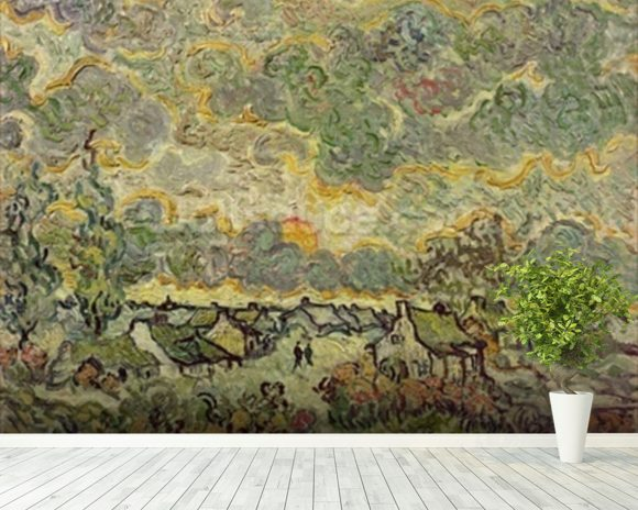 Autumn landscape, 1890 (oil on canvas) wallpaper mural room setting