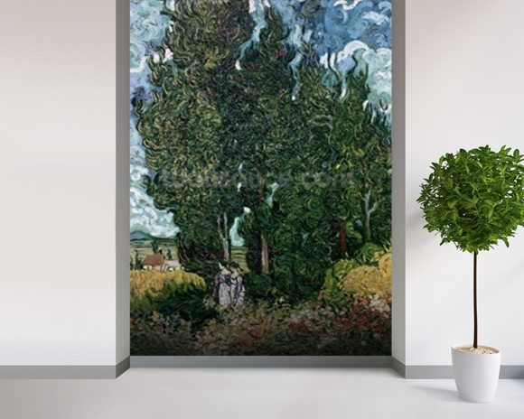 The cypresses, c.1889-90 (oil on canvas) mural wallpaper room setting