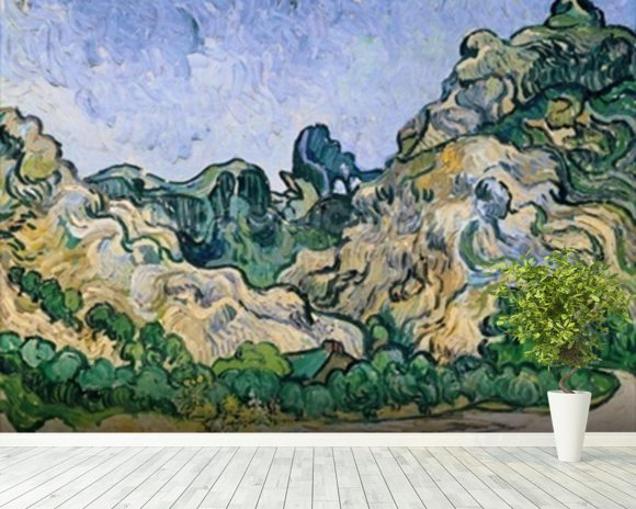The Alpilles, 1889 (oil on canvas) mural wallpaper room setting