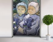 Two Little Girls, 1890 (oil on canvas) wallpaper mural in-room view