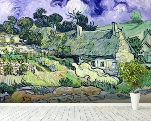 Thatched cottages at Cordeville, Auvers-sur-Oise, 1890 (oil on canvas) mural wallpaper room setting