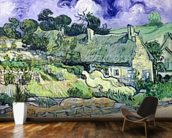 Thatched cottages at Cordeville, Auvers-sur-Oise, 1890 (oil on canvas) mural wallpaper kitchen preview