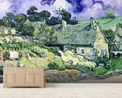 Thatched cottages at Cordeville, Auvers-sur-Oise, 1890 (oil on canvas) mural wallpaper living room preview