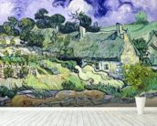Thatched cottages at Cordeville, Auvers-sur-Oise, 1890 (oil on canvas) mural wallpaper in-room view