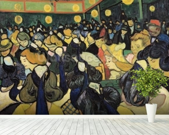 The Dance Hall at Arles, 1888 (oil on canvas) mural wallpaper room setting