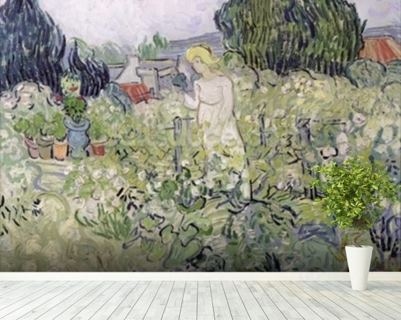 Mademoiselle Gachet in her garden at Auvers-sur-Oise, 1890 (oil on canvas) wall mural room setting