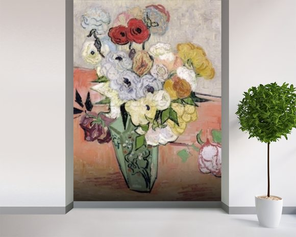 Japanese Vase with Roses and Anemones, 1890 (oil on canvas) mural wallpaper room setting