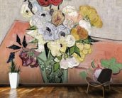 Japanese Vase with Roses and Anemones, 1890 (oil on canvas) mural wallpaper kitchen preview