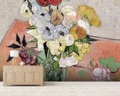 Japanese Vase with Roses and Anemones, 1890 (oil on canvas) mural wallpaper living room preview