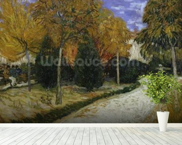 Path in the Park at Arles, 1888 (oil on canvas) mural wallpaper room setting