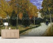Path in the Park at Arles, 1888 (oil on canvas) mural wallpaper living room preview