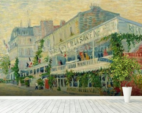 Restaurant de la Sirene at Asnieres, 1887 (oil on canvas) wallpaper mural room setting