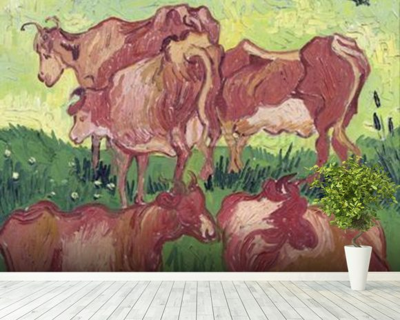 Cows, 1890 (oil on canvas) mural wallpaper room setting