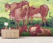 Cows, 1890 (oil on canvas) mural wallpaper living room preview