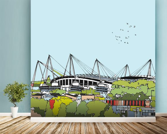 Etihad Stadium mural wallpaper room setting