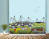 Etihad Stadium mural wallpaper in-room view