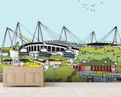 Etihad Stadium mural wallpaper living room preview