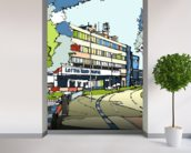 Loftus Road wall mural in-room view