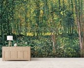 Trees and Undergrowth, 1887 (oil on canvas) mural wallpaper living room preview