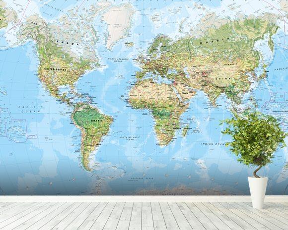 World Wall Map (Environmental) Wall Mural & World Wall Map