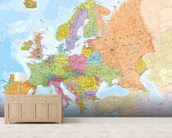 Political Europe Map wall mural living room preview