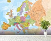 Political Europe Map wall mural in-room view