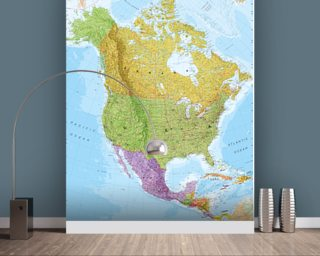 Political North America Map mural wallpaper