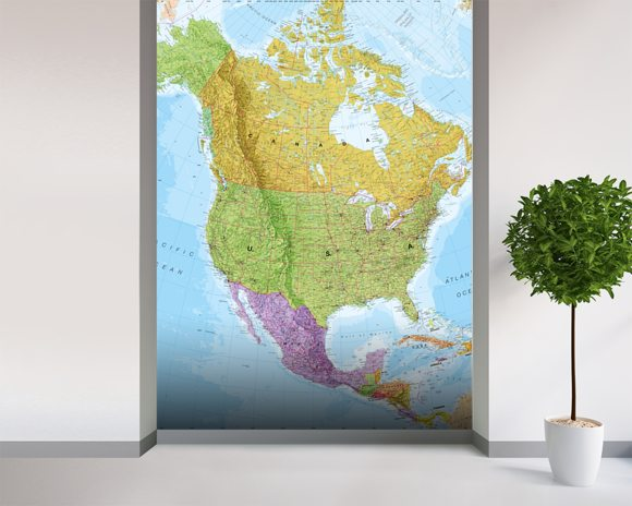 Political North America Map Wall Mural & Political North America Map ...