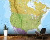 Political North America Map mural wallpaper kitchen preview