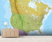Political North America Map mural wallpaper living room preview